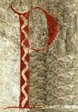 Letter P which begins the Mabinogi  with the name 'Pwyll.'